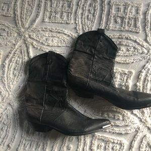 Shoes - Soft leather western moto boot